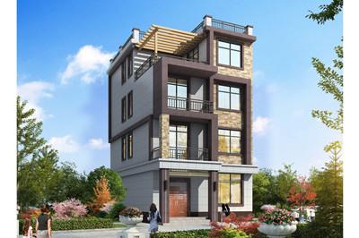 农村小户型四层自建房别墅效果图片,新款平屋顶设计图