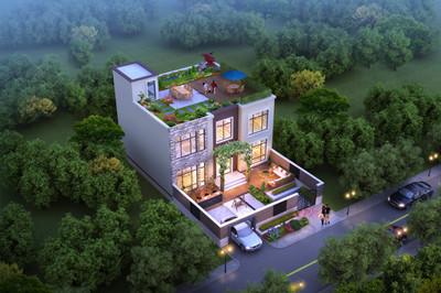时尚现代风格平屋顶二层房复式农村别墅设计图,带小院子