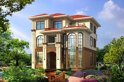 新农村三层欧式自建房屋别墅设计图,外观图片豪华大气