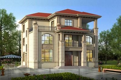 乡村经典三层自建别墅设计图全套,豪华欧式风格外观效果图