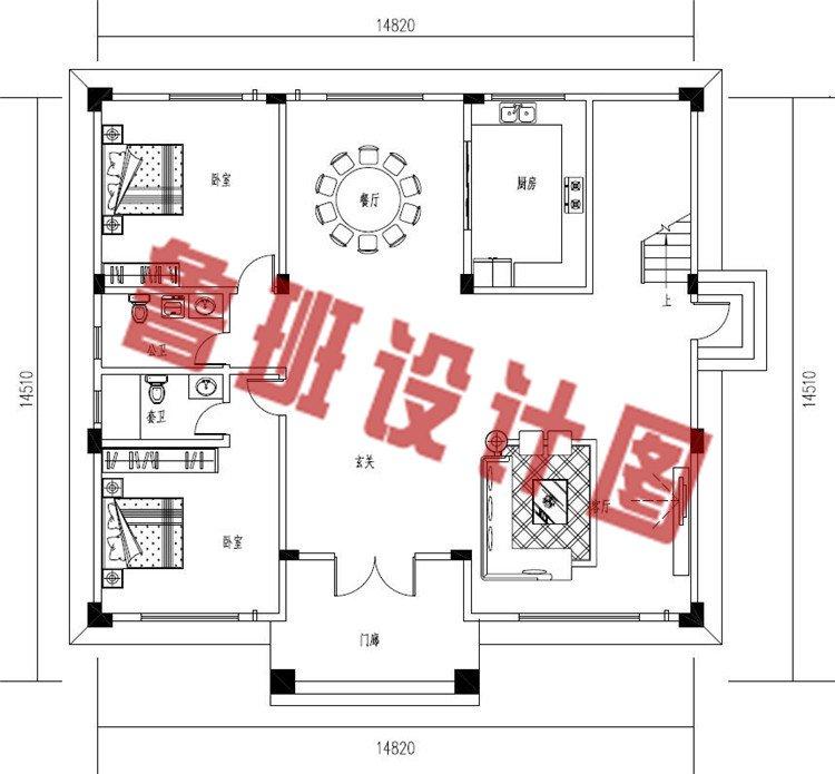 农村三层私人别墅设计一层户型图