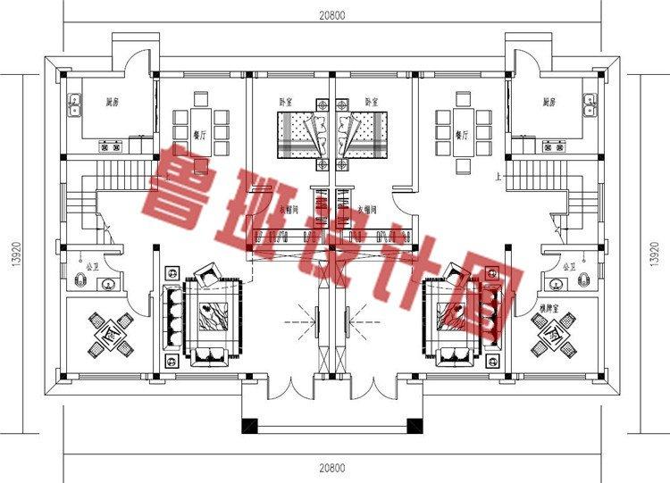 豪华欧式乡村三层兄弟自建双拼别墅设计一层户型图