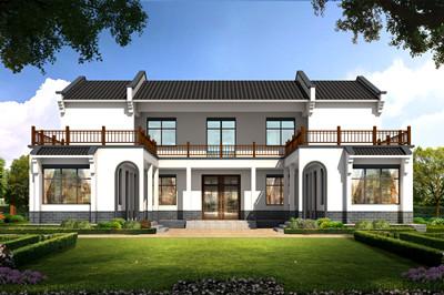 农村二层中式三合院别墅设计图,户型经典实用