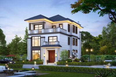 最新农村新中式三层别墅房屋设计图,带电梯设计