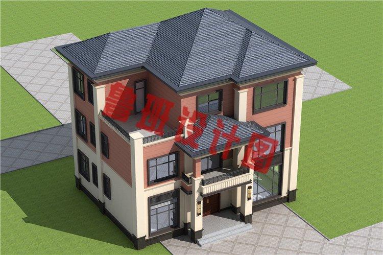 三层新中式农村别墅设计鸟瞰图