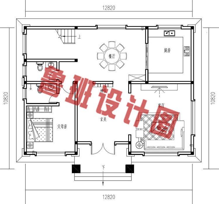三层新中式农村别墅设计一层户型图