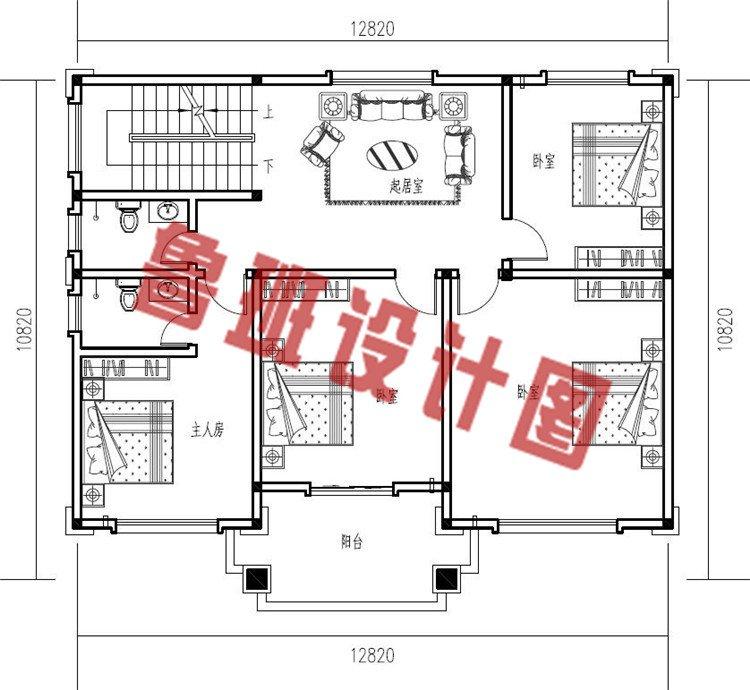 三层新中式农村别墅设计二层户型图