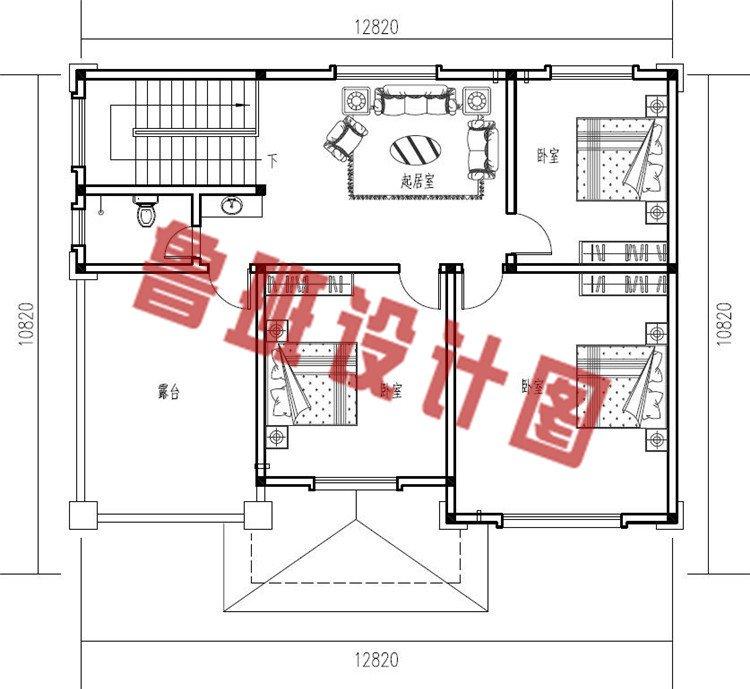 三层新中式农村别墅设计三层户型图