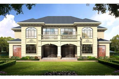 新农村现代简欧兄弟二层双拼别墅设计图,含全套施工图