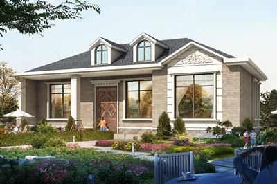 新款时尚农村一层平房别墅设计图,外观清新亮丽