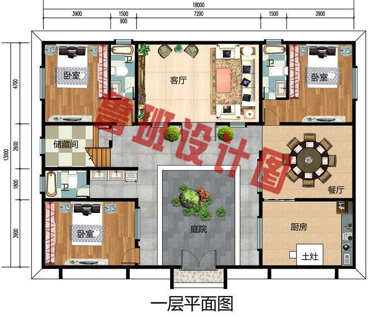 带庭院二层中式别墅设计图,中式四合院风格设计