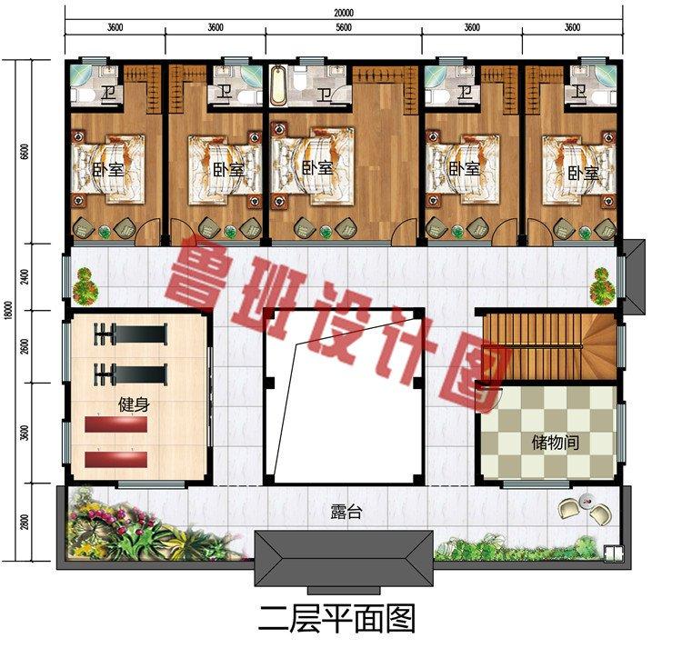 乡村二层四合院款式图片别墅设计图,占地300平左右