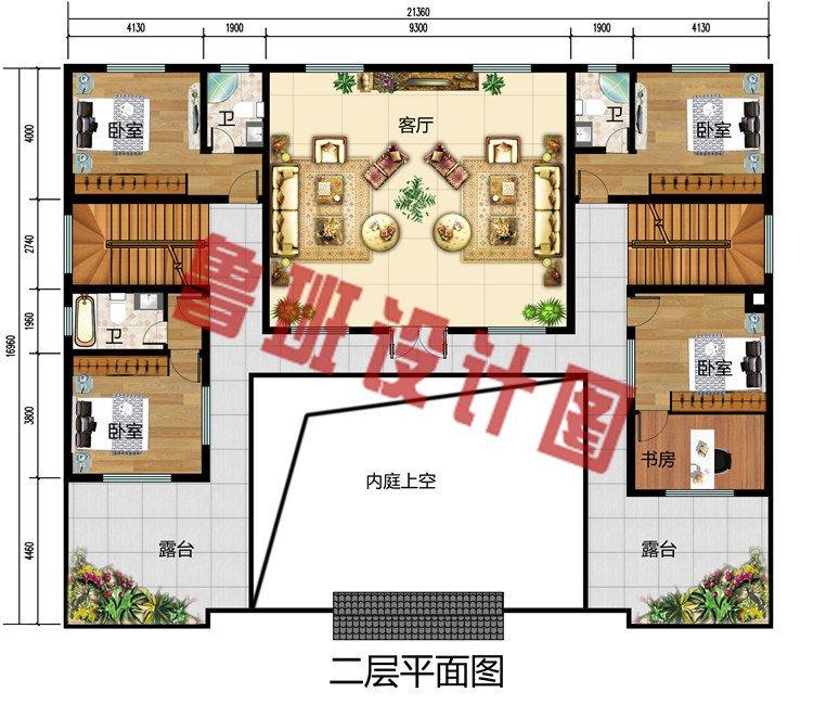 260平方米中式四合院房屋二层设计图,中式耐看