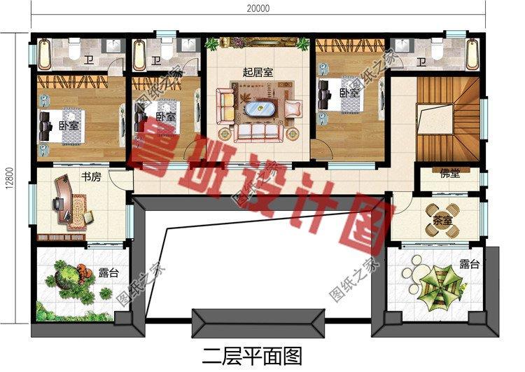 农村新中式二层四合院自建房设计图,户型方正