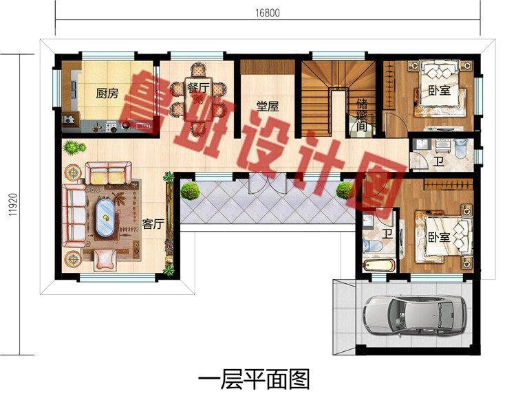 2019年新款中式小二层三合院别墅户型方案图,带堂屋和车库