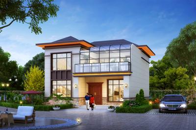 新中式带阳光房二层别墅设计小楼图,外观古朴有质感