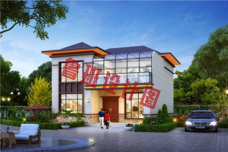 新中式带阳光房二层别墅设计效果图