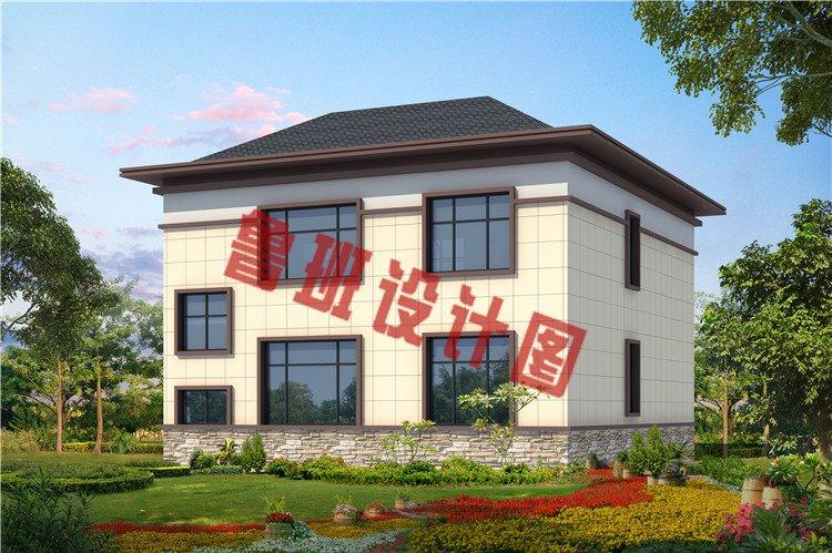 新中式带阳光房二层别墅设计外观图