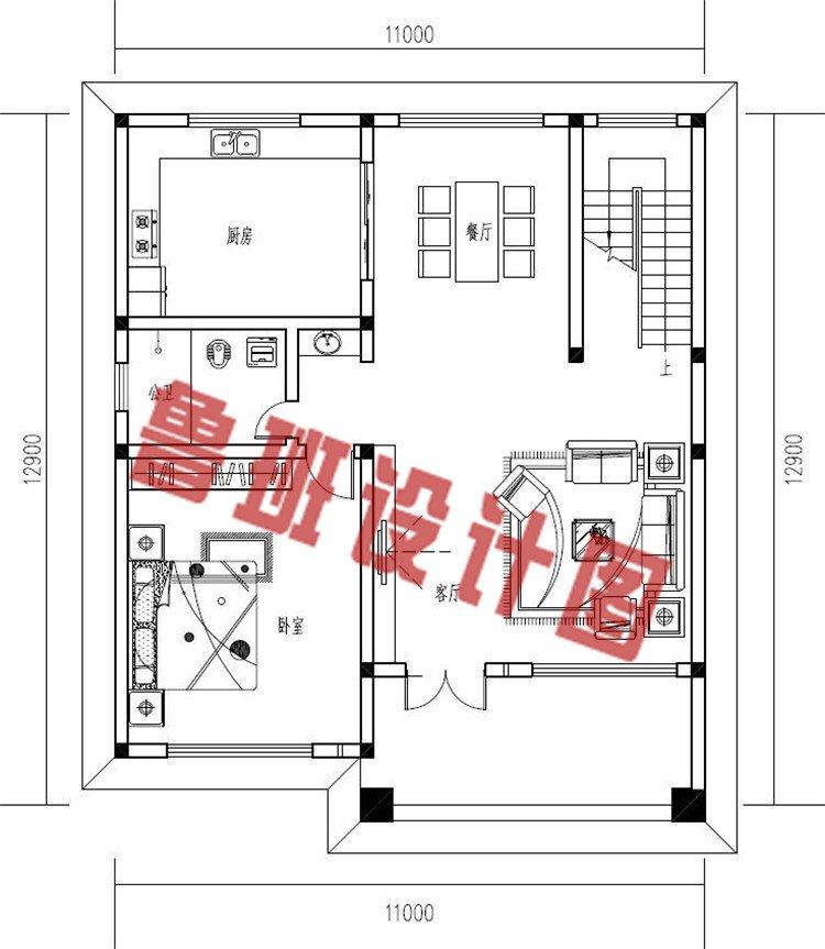 新中式带阳光房二层别墅设计小楼一层户型图