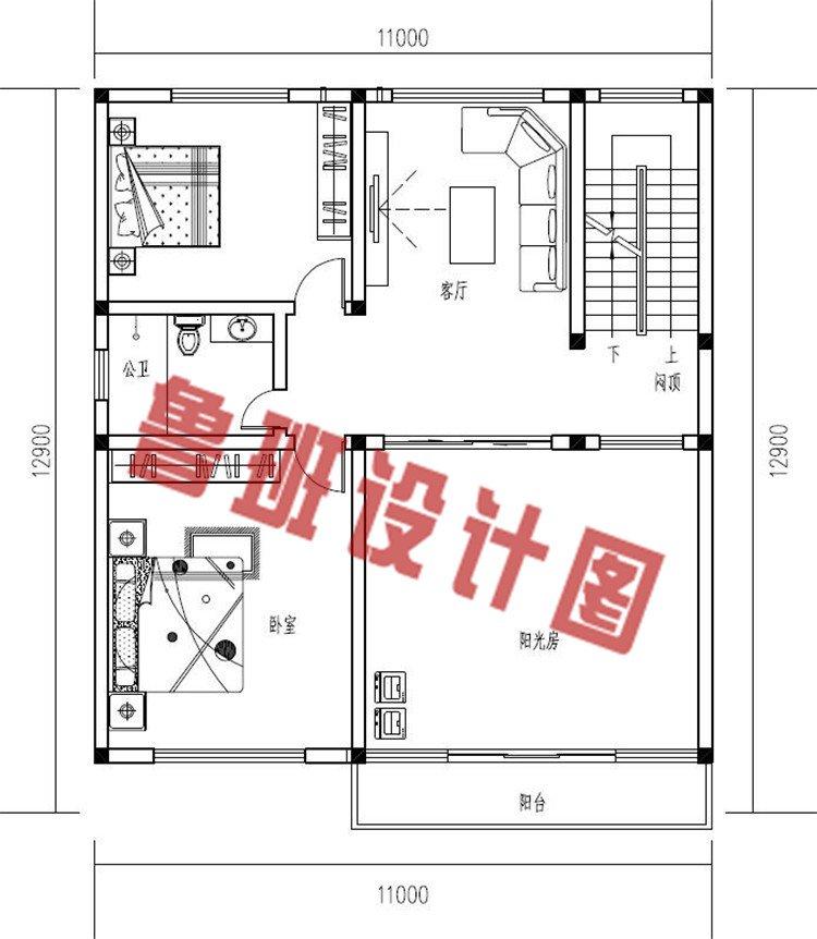 新中式带阳光房二层别墅设计小楼二层户型图
