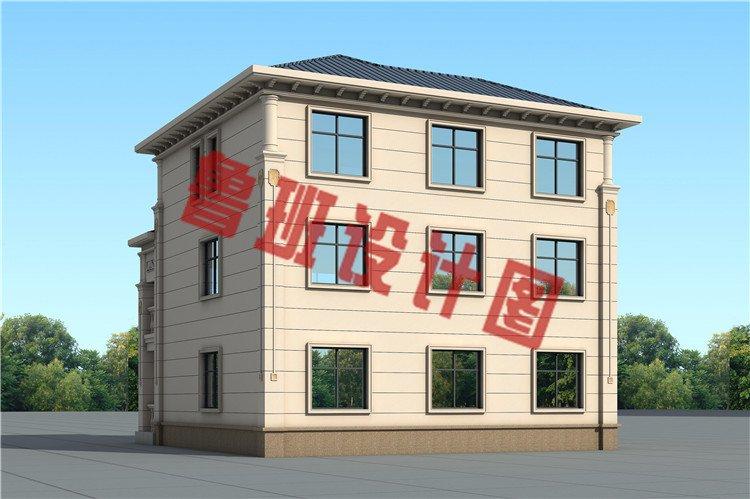 农村新款欧式三层简约小别墅设计外观图