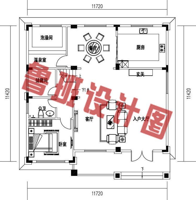 农村新款欧式三层简约小别墅设计一层户型图