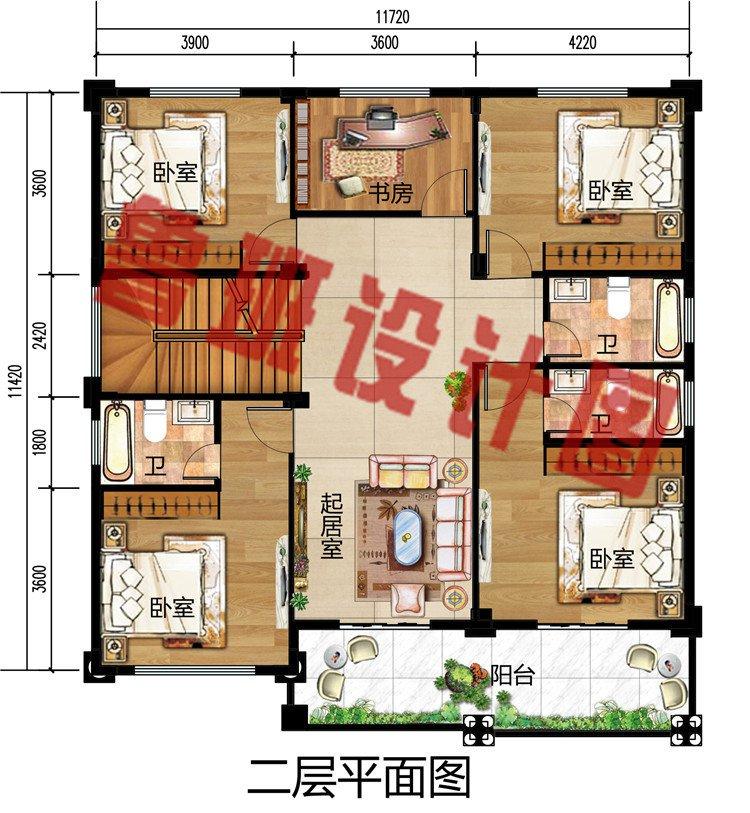 农村新款欧式三层简约小别墅设计图,外立面简单清新