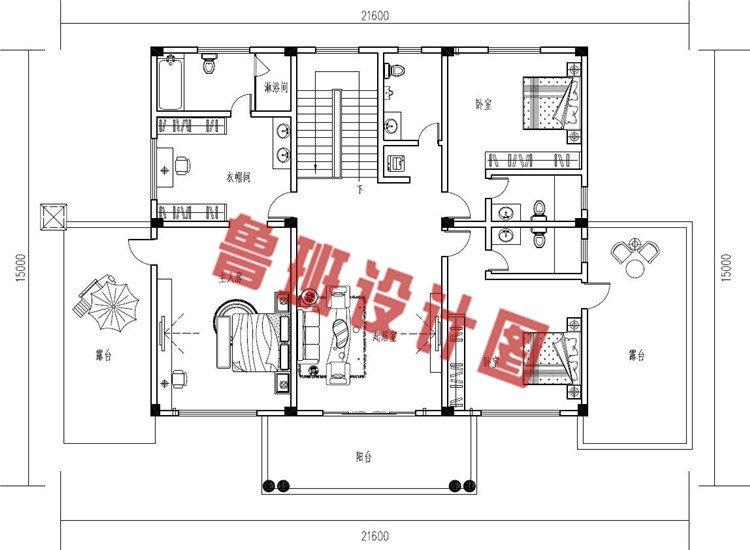 农村最新大开间二层别墅设计二层户型图