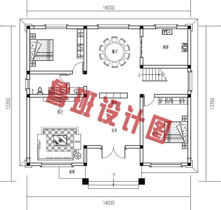 现代风格二层小楼房设计一层户型图