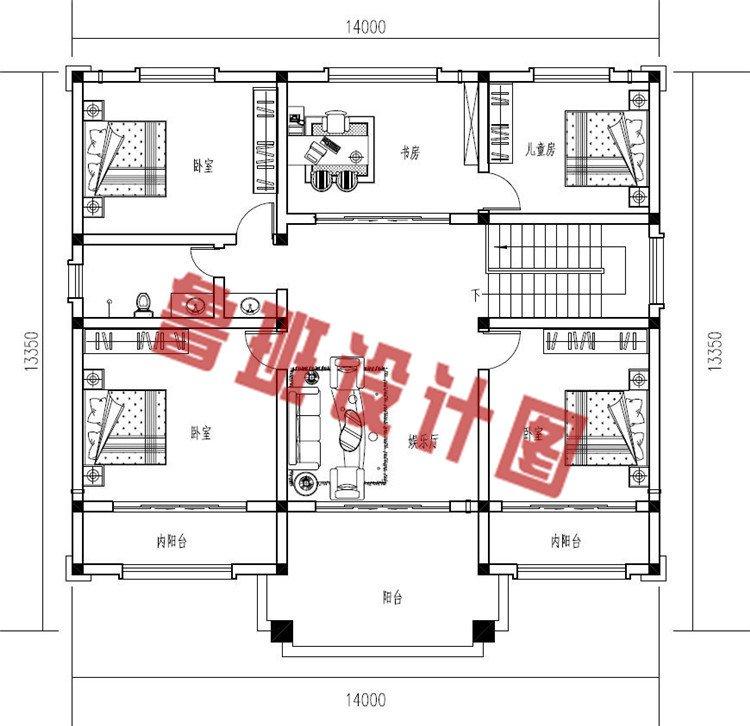 现代风格二层小楼房设计二层户型图