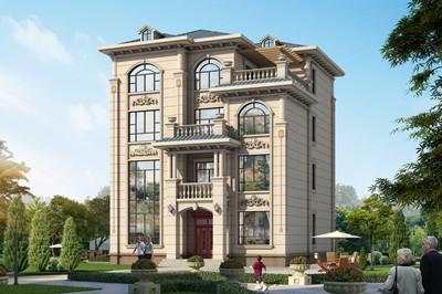 农村四层别墅新款图片及全套自建房设计图,外观简欧风格