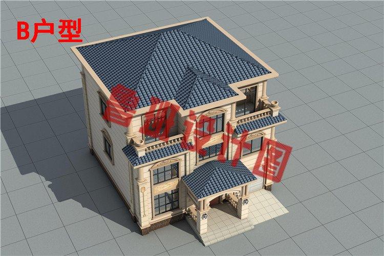 乡村新款三层欧式复式别墅设计鸟瞰图