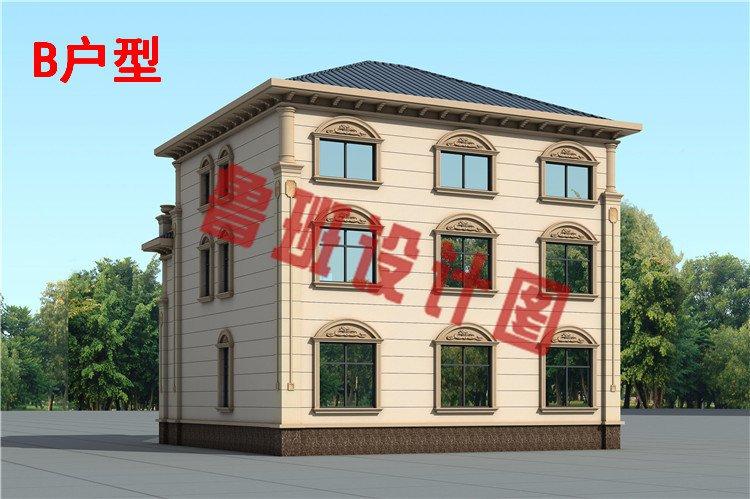 乡村新款三层欧式复式别墅设计背面图