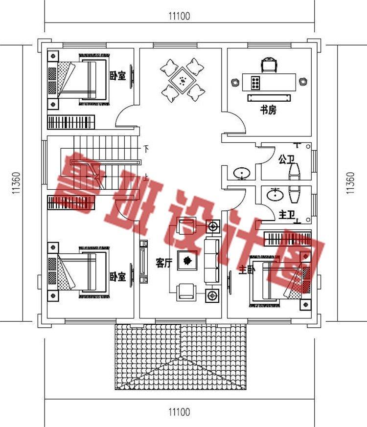 乡村新款三层欧式复式别墅设计二层户型图
