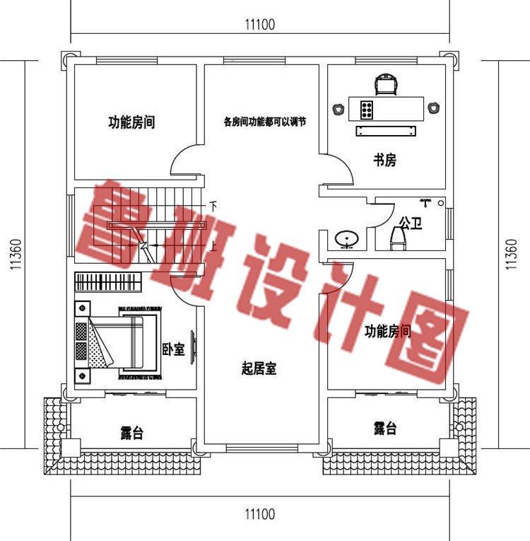 乡村新款三层欧式复式别墅设计三层户型图