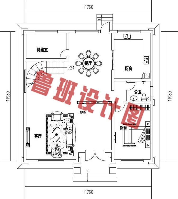 四层农村复式别墅设计一层户型图