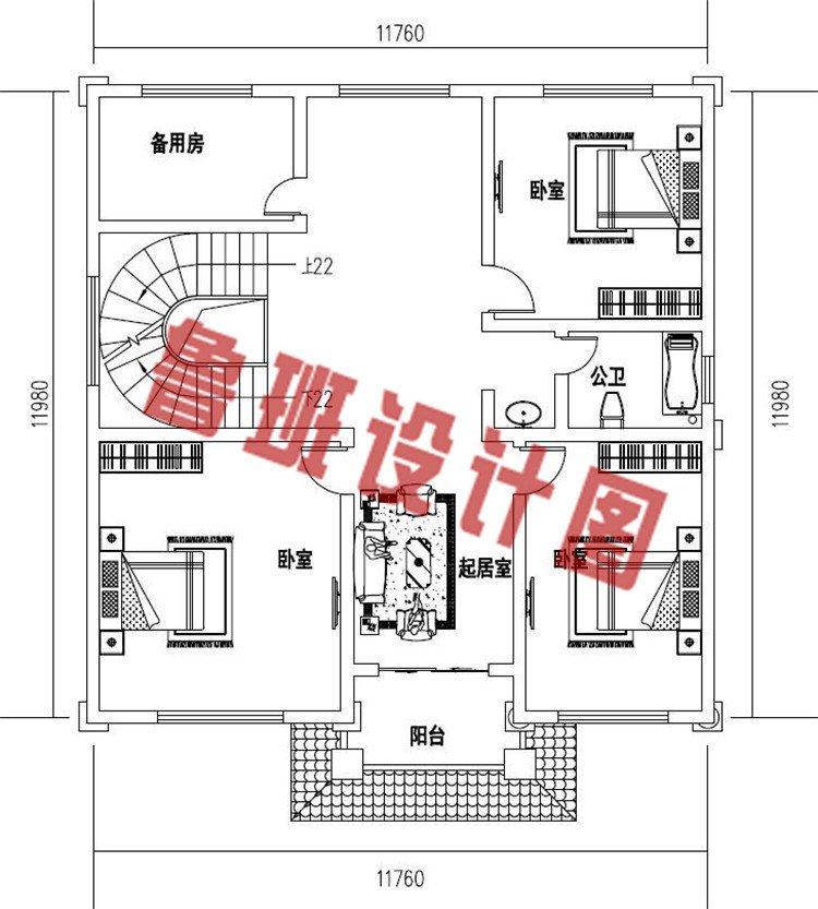 四层农村复式别墅设计三层户型图