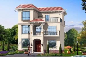 平屋顶三层别墅设计方案,带飘窗和大露台,造价也经济。