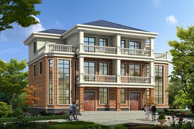 农村兄弟三层实用双拼别墅设计图,外观大气适合乡村建