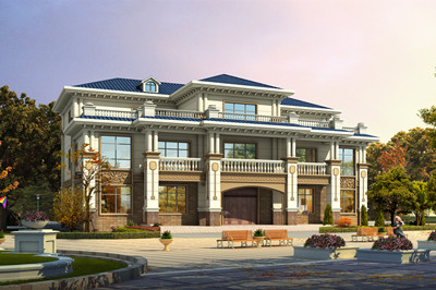 农村带堂屋两层半欧式兄弟双拼别墅设计图,外观图片大气