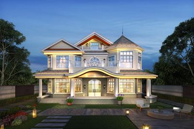 最新时尚农村二层半别墅设计图,外观欧式现代风格