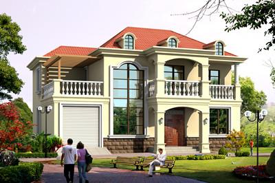 经济实用适合农村盖的乡村二层别墅设计图,带车库设计