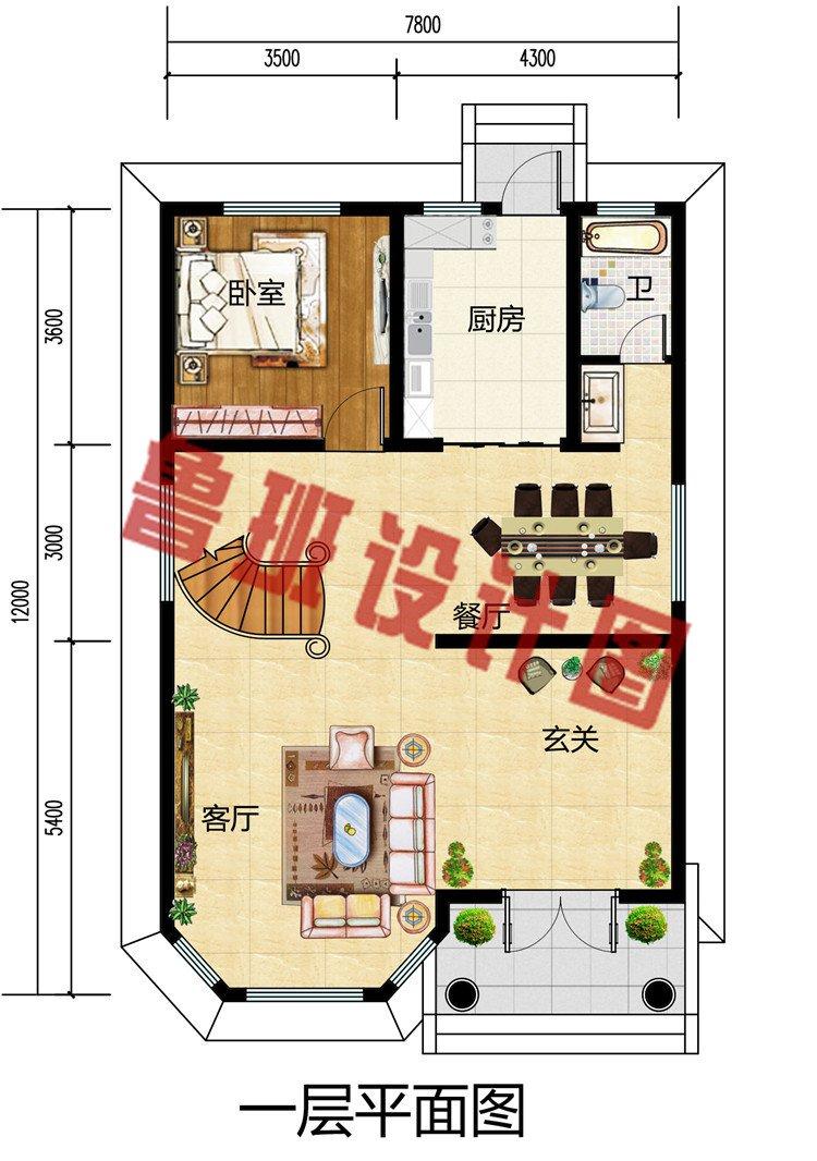 90平米三层农村楼房别墅设计图,造价23万到26万