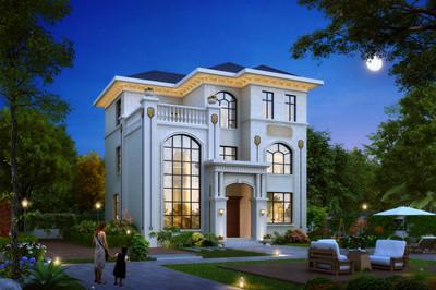 120-130平方米农村新款三层别墅设计图及漂亮外观图片,爆款图纸