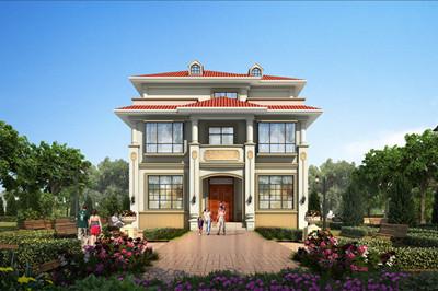新款乡村三层别墅设计图纸带效果图,别墅外观清新靓丽