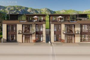 新中式双拼别墅案例,平屋顶以及挑檐的搭配,丰富了屋顶造型。