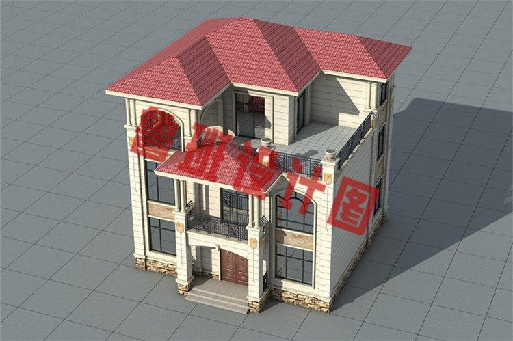 低调沉稳三层欧式别墅设计鸟瞰图