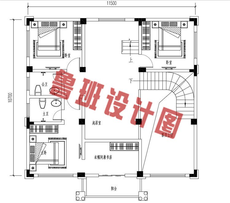 低调沉稳三层欧式别墅设计二层户型图