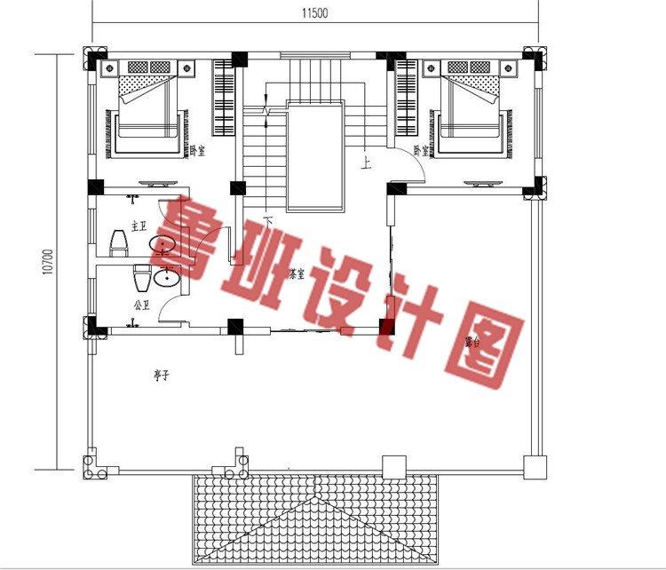 低调沉稳三层欧式别墅设计三层户型图
