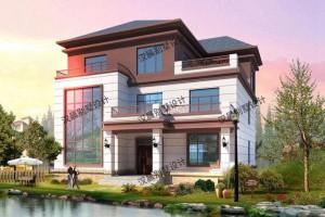新中式3层别墅设计实景图,与周围的建筑相比,简直是鹤立鸡群